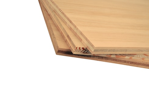 Solid wood boards glued together with PVAc adhesives